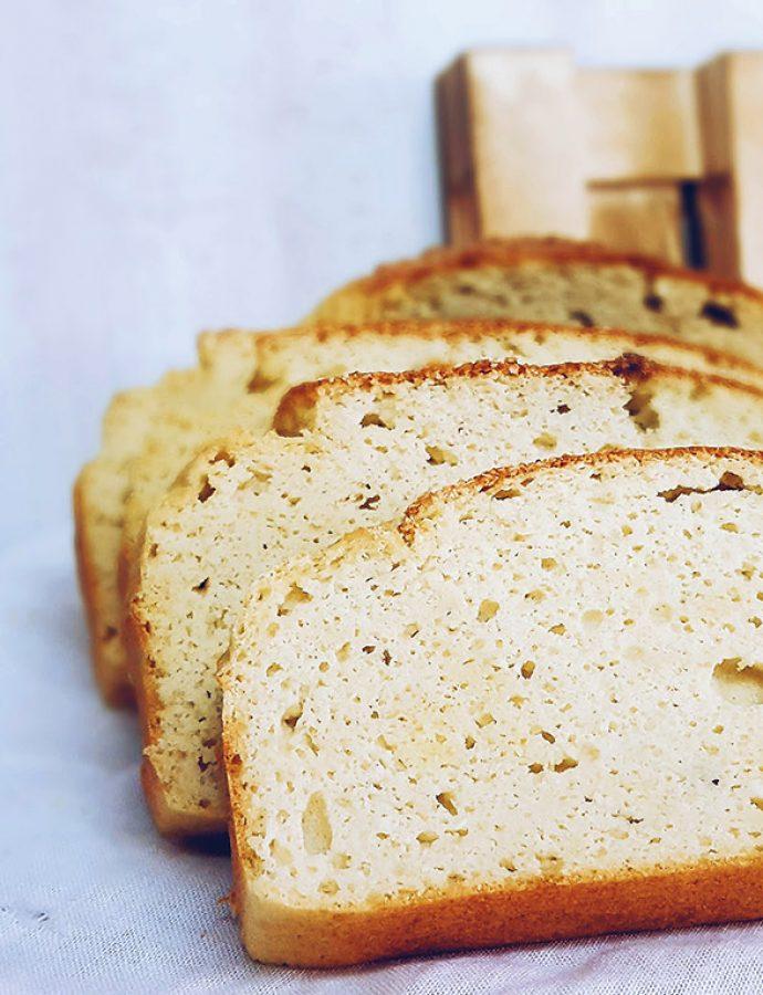 Pan de coco saludable, esponjoso y libre de gluten