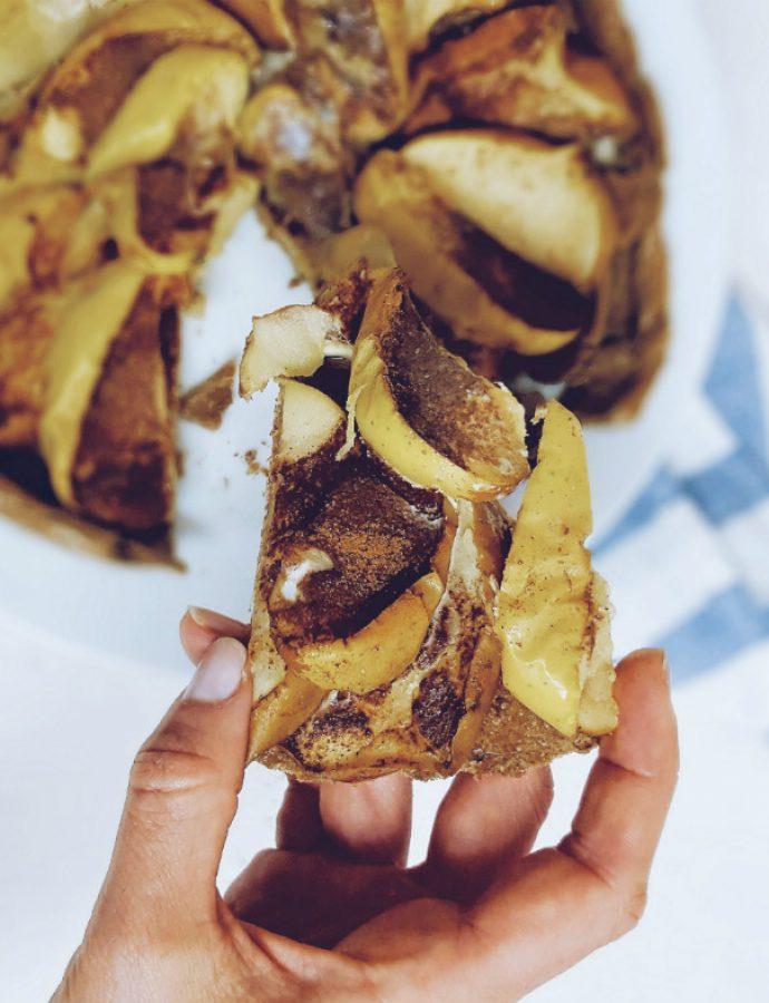 Quiche de manzana saludable con masa de centeno integral