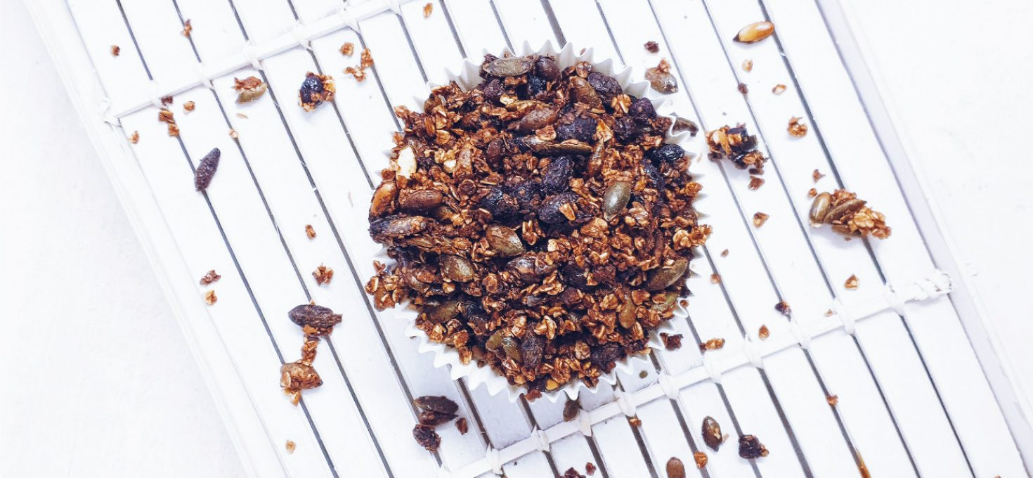 Granola saludable casera de avena y semillas