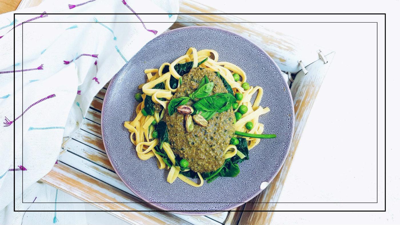 Pesto de pistachos saludable