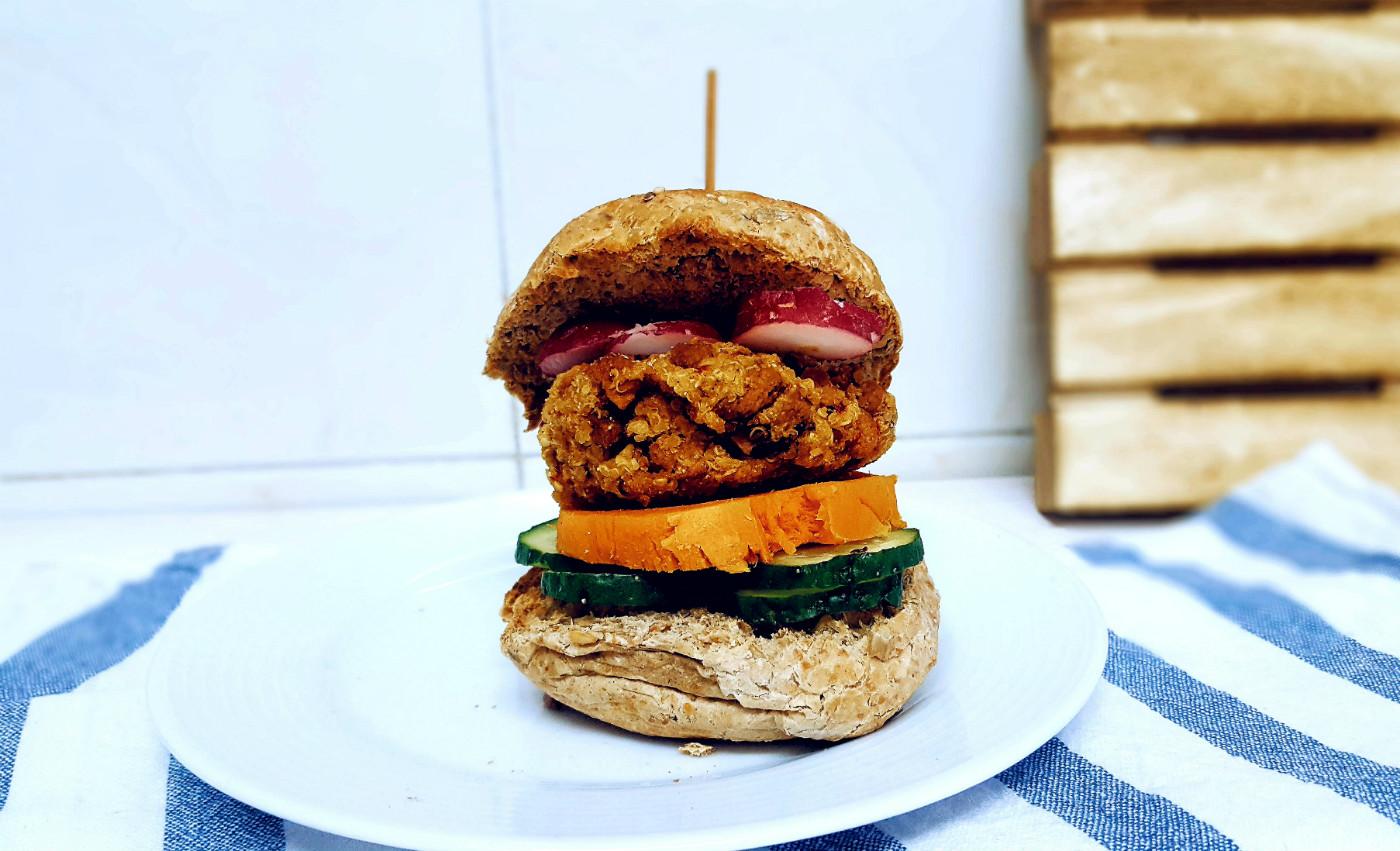 Burger de quinoa para reto siete días vegano